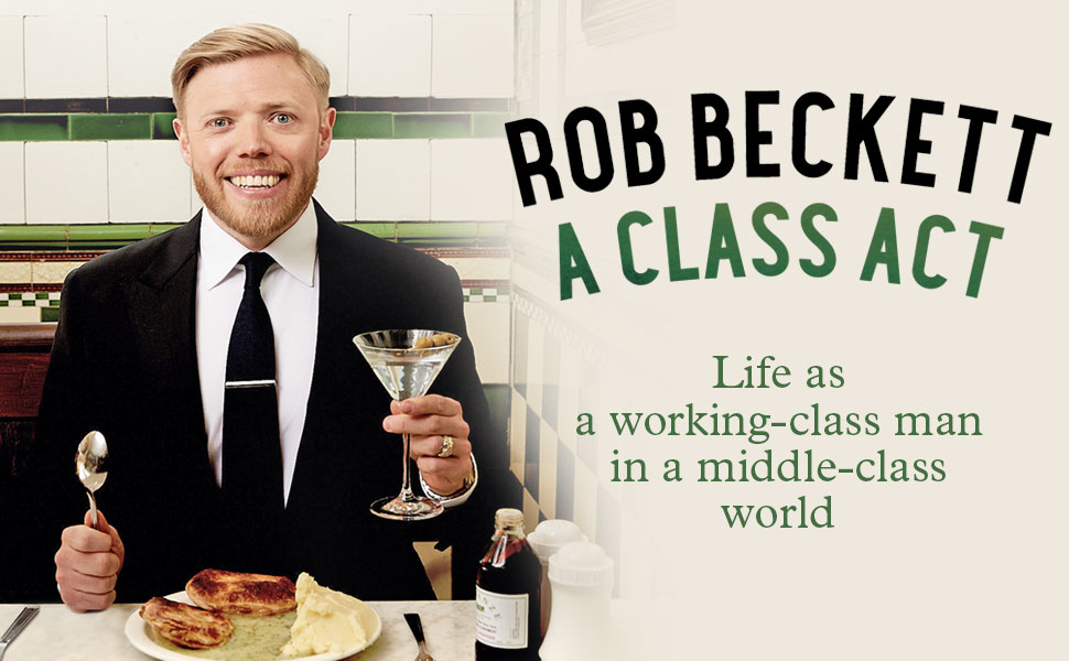 Class Act Book cover - image of Rob in pie & mash shop wearing a suit with a cocktail in his hand