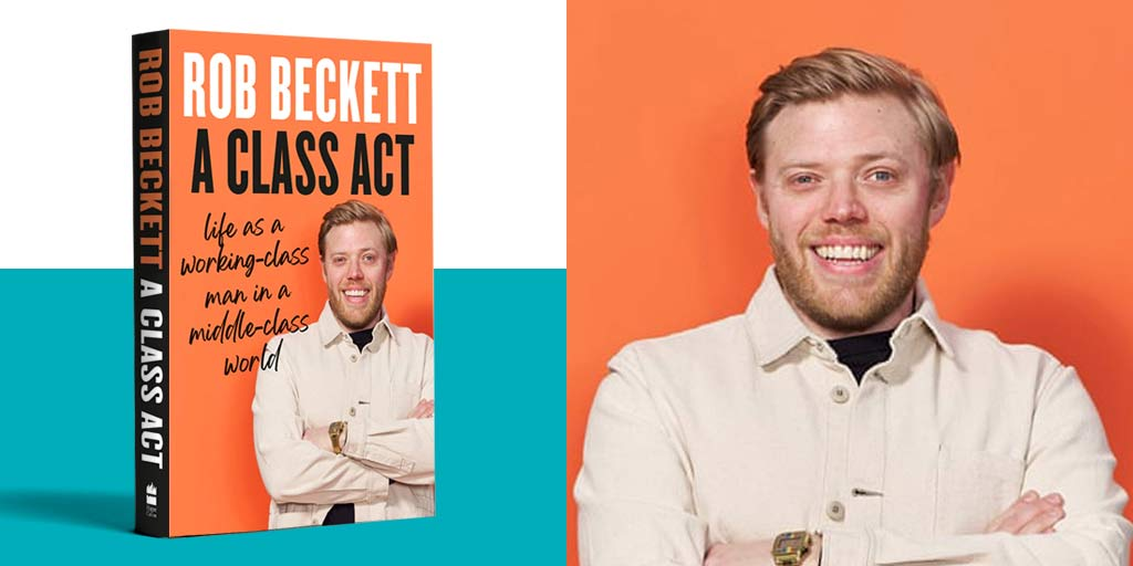 Rob Beckett's orange book cover with profile